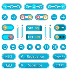 Blue Buttons and Switches in a minimalist style vector image