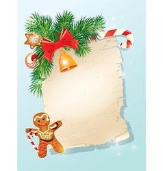 Christmas greeting magic scroll from Santa Claus vector image