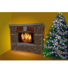Fireplace and christmas tree vector