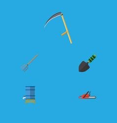 Flat icon dacha set of hacksaw hay fork trowel vector