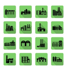 Flat icon set of distribution warehouse and vector