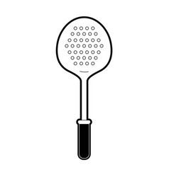 frying spoon utensil black silhouette vector image vector image