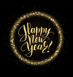 gold and black card with happy new year text and vector image