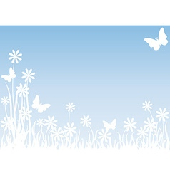Grass flowers and butterflies vector image