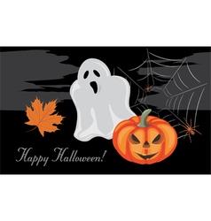 Halloween pumpkin and ghost vector image