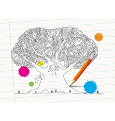 Hand drawn tree on notebook paper with pencil and vector
