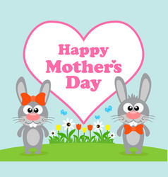 Happy mothers day background card with rabbit vector