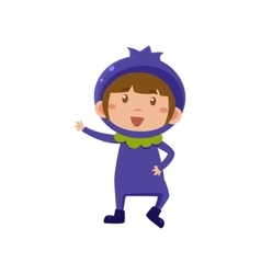 Kid in blueberry costume vector