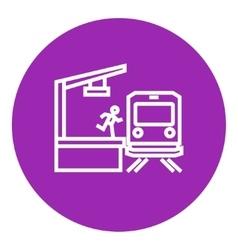 Latecomer man running along the platform to reach vector