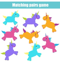Matching children education game vector