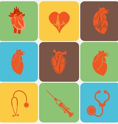 Medical heart icon set vector