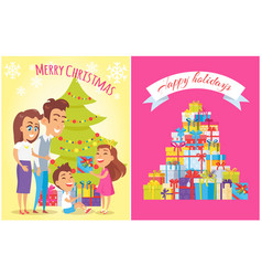 merry christmas happy birthday vector image vector image