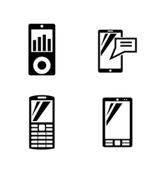 mobile devices simple related icons vector image