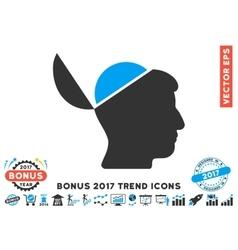 Open Brain Flat Icon With 2017 Bonus Trend vector image