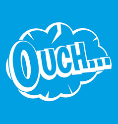 Ouch speech cloud icon white vector