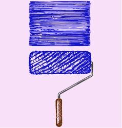 Paint roller blue paint vector image