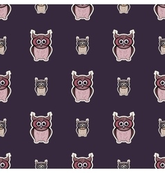 Purple and pink sticker-like owls seamless pattern vector image vector image