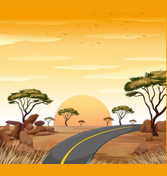 savanna scene with empty road at sunset vector image vector image