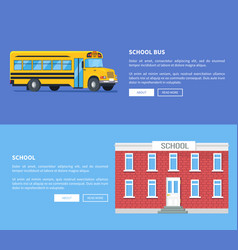 School bus and building set of posters vector