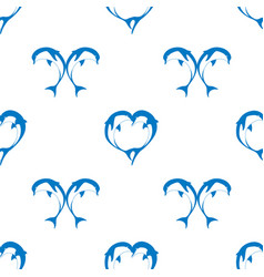 Seamless pattern of two bouncing dolphin couple vector