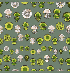 seamless pattern with cartoon jellyfish vector image vector image