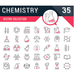 Set flat line icons chemistry vector
