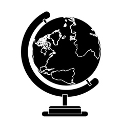 silhouete sphere world map with base vector image