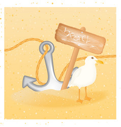 summer background with seagull anchor wood sign vector image