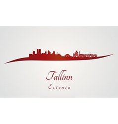 Tallinn skyline in red vector