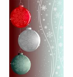 three new-year balls with snowflakes vector image