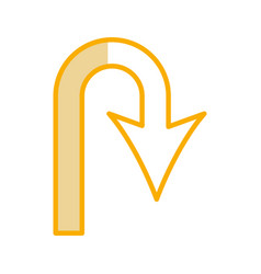 U turn arrow traffic signal icon vector
