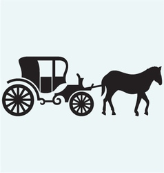 Vintage carriage and horse-drawn vector image vector image