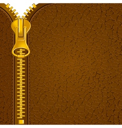 Zipper on the leather material vector
