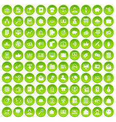 100 villa icons set green circle vector
