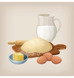 The dough on the board with a rolling pin eggs vector