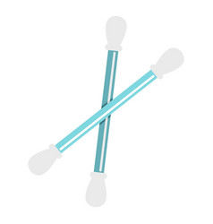Blue plastic cotton swabs icon isolated vector