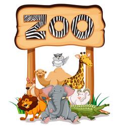 Wild animals under the zoo sign vector