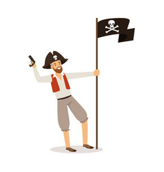 Brave pirate character with jolly roger flag vector
