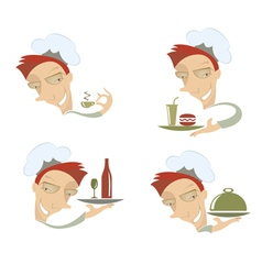 Comic cook and food vector