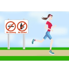 Running woman outdoors vector