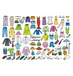 Fashion and clothing color icons collection vector