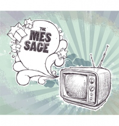 hand drawn retro TV set vector image