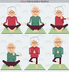 Elderly people yoga lifestlye symbols vector