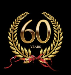 60 years anniversary laurel wreath vector