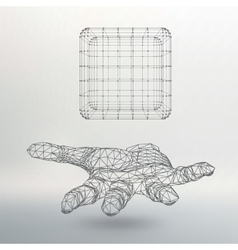 Cube of lines and dots on the arm the hand vector