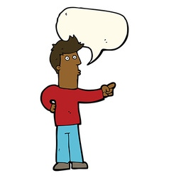 Cartoon curious man pointing with speech bubble vector
