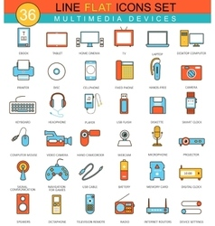 Multimedia devices flat line icon set vector