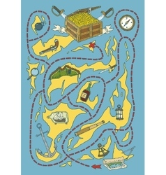 Treasure island map maze game vector