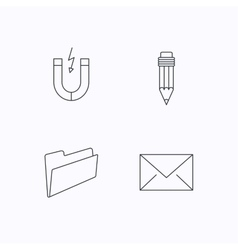Folder pencil and mail envelope icons vector