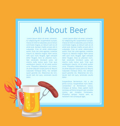 All about beer poster with tasty food and drink vector